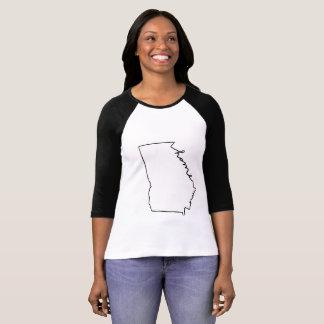 Camiseta Linha Home 3/4 T das senhoras Geórgia do Raglan da