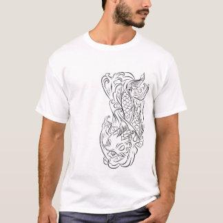 Camiseta Linha série 2 dos peixes de Koi da arte T
