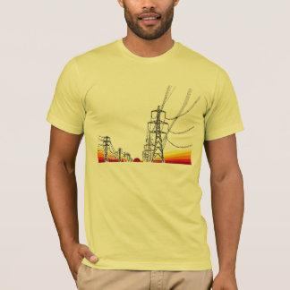 Camiseta linhas de alta tensão do por do sol