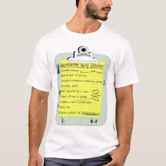 Camiseta Lista de verificação da festa de solteira