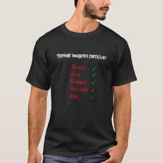 Camiseta Lista de verificação da filha adolescente