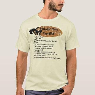Camiseta Lista de verificação do despedida de solteiro