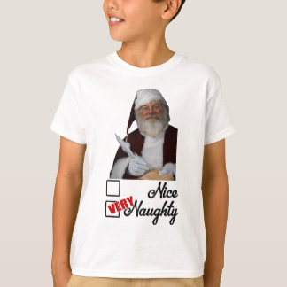 Camiseta Lista impertinente de Papai Noel do vintage