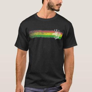 Camiseta Listras da reggae de Rasta com leão coroado