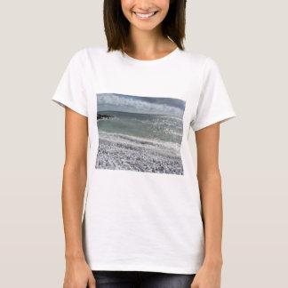 Camiseta Litoral da praia em um dia nebuloso no verão