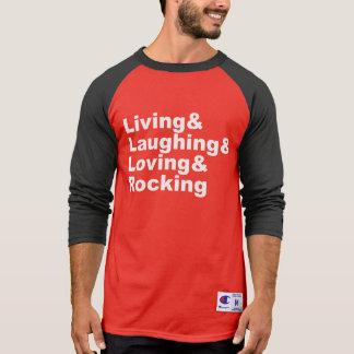 Camiseta Living&Laughing&Loving&ROCKING (branco)