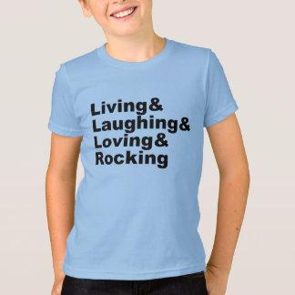 Camiseta Living&Laughing&Loving&ROCKING (preto)