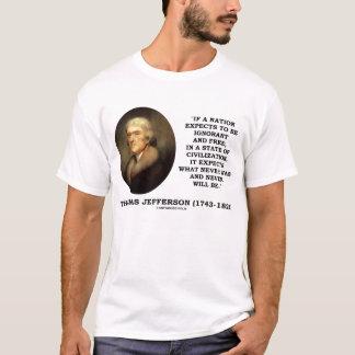 Camiseta Livre ignorante de Thomas Jefferson nunca será
