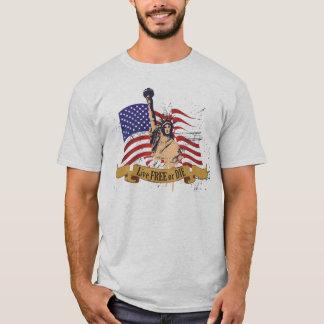 Camiseta Livres vivos ou morrem bandeira americana da