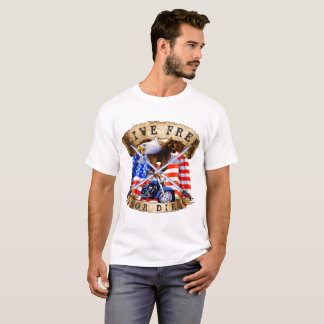 Camiseta Livres vivos ou morrem, patriota da motocicleta,