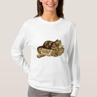 Camiseta Livros de leitura do gato do gatinho do leitor