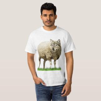 Camiseta lobo na luz branca do tshirt dos homens da roupa