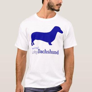 Camiseta Logotipo afortunado original do azul do Dachshund