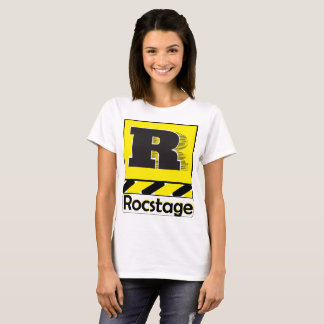 Camiseta Logotipo branco do t-shirt W. Rocstage no amarelo