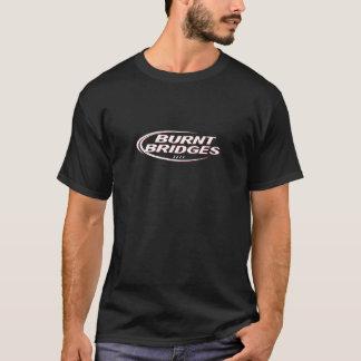 Camiseta Logotipo branco queimado das pontes no preto