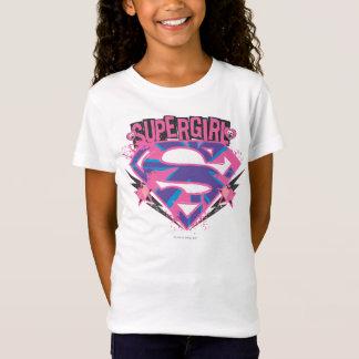 Camiseta Logotipo cor-de-rosa e roxo de Supergirl do Grunge