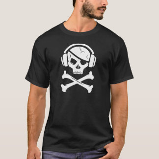 Camiseta Logotipo da pirataria anti-RIAA do pirata da