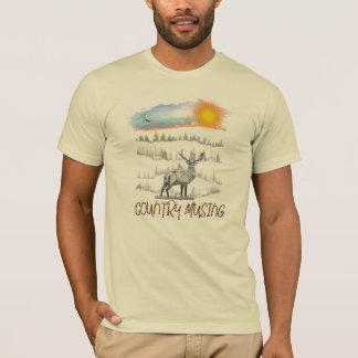 Camiseta Logotipo da reflexão do país em um t-shirt sleeved