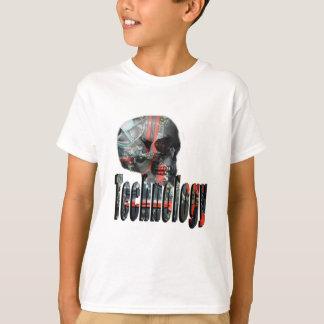 Camiseta Logotipo da tecnologia e crânio do computador,