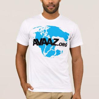 Camiseta logotipo de Avaaz.org e parte dianteira pretos de