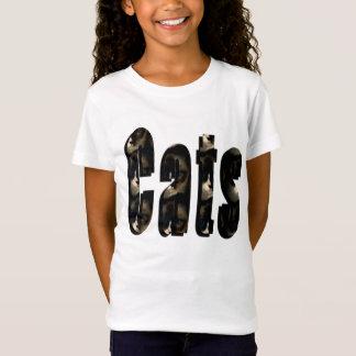 Camiseta Logotipo dimensional do gato feito dos gatos de