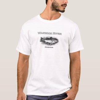 Camiseta Logotipo do baixo listrado do vintage do rio de