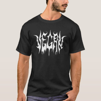 Camiseta Logotipo do metal do Vegan, t-shirt escuro