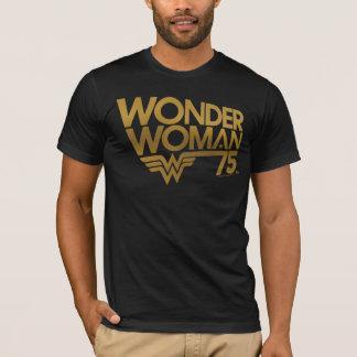 Camiseta Logotipo do ouro do aniversário da mulher