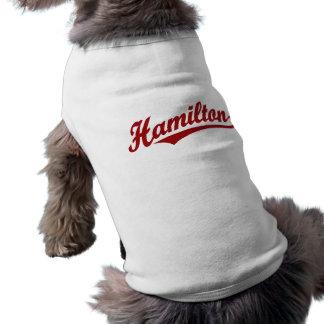 Camiseta Logotipo do roteiro de Hamilton no vermelho