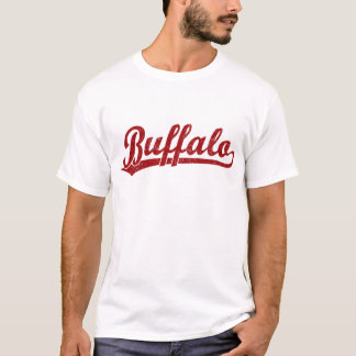 Camiseta Logotipo do roteiro do búfalo no vermelho