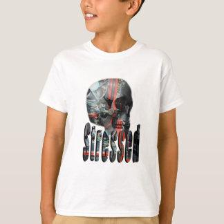 Camiseta Logotipo forçado crânio fritado computador,