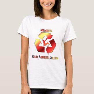 Camiseta Logotipo irritado do texto da milícia do esquilo