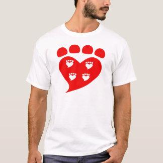 Camiseta Logotipo T do coração de Pawprints