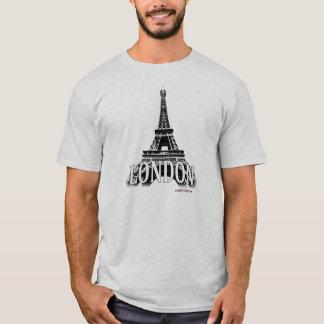 Camiseta Londres Inglaterra que caracteriza a torre Eiffel