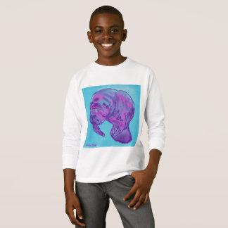 Camiseta longa da luva da criança do peixe-boi