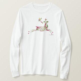 Camiseta longa da luva do feriado da rena das