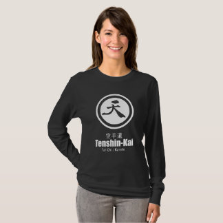 Camiseta Longo-luva preta do karaté de Tenshin-Kai (wome)