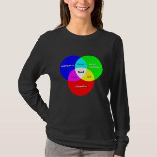 Camiseta Longo-luva T das senhoras do diagrama de Venn do