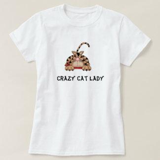 Camiseta louca da senhora do gato