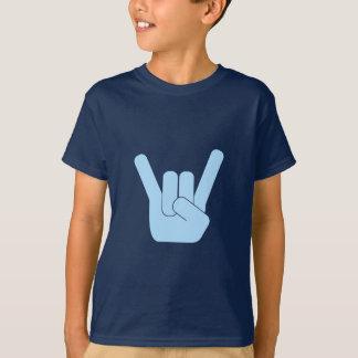 Camiseta Lt do sinal da rocha. Azul