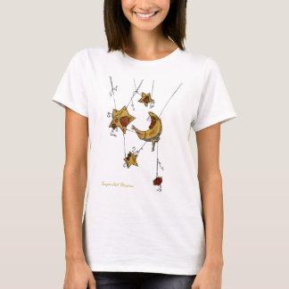 Camiseta Lua e estrelas crescentes suspendidas