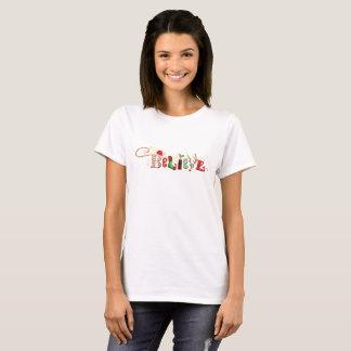 Camiseta Lunático ACREDITE com Natal da faísca do ouro