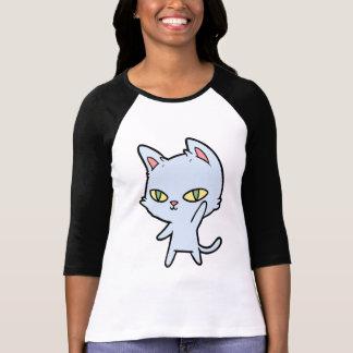 Camiseta Luva bonito do t-shirt 3/4 do gato dos desenhos