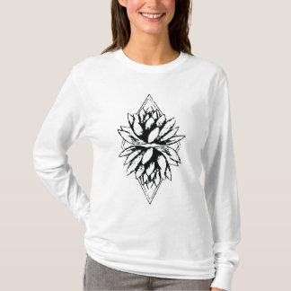 Camiseta Luva longa da flor de Lotus