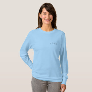 Camiseta luva longa das cores claras das mulheres 4TEN