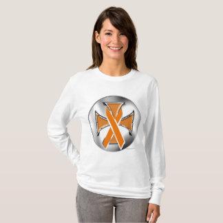 Camiseta Luva longa das senhoras da cruz do ferro do câncer