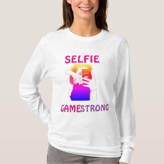 Camiseta Luva longa forte T do jogo do Selfie das mulheres