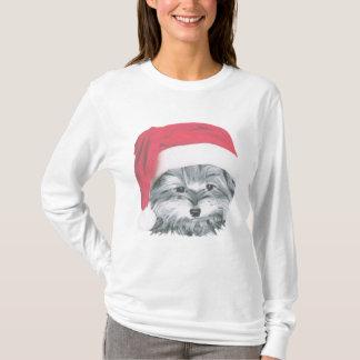 Camiseta Luva longa Hoody do cão de Yorkie do Natal
