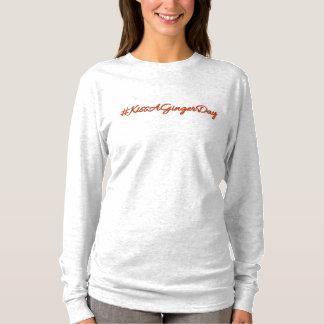 """Camiseta Luva longa - impressão """"#KissAGingerDay"""""""