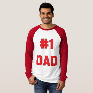 Camiseta Luva longa vermelha do pai do número um